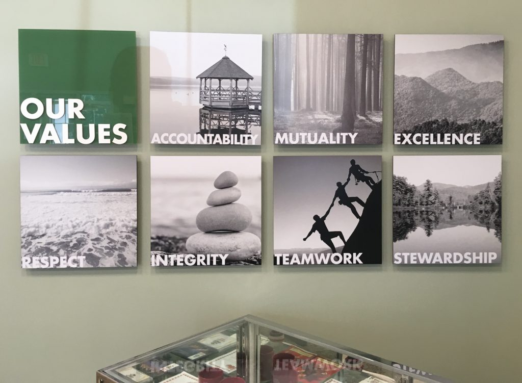 Our Values sign