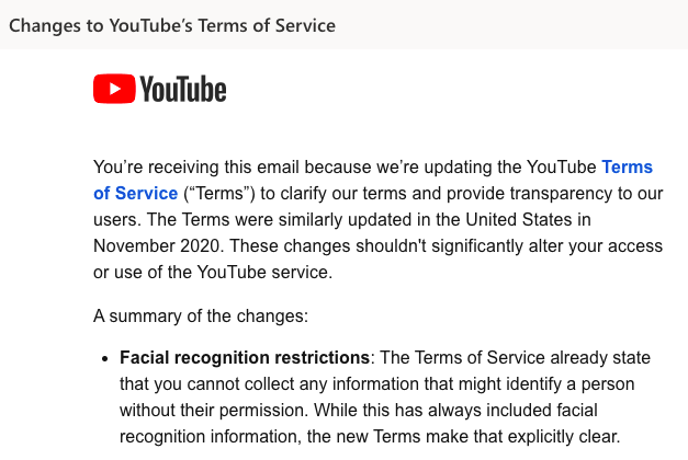youtube facial recognition policy