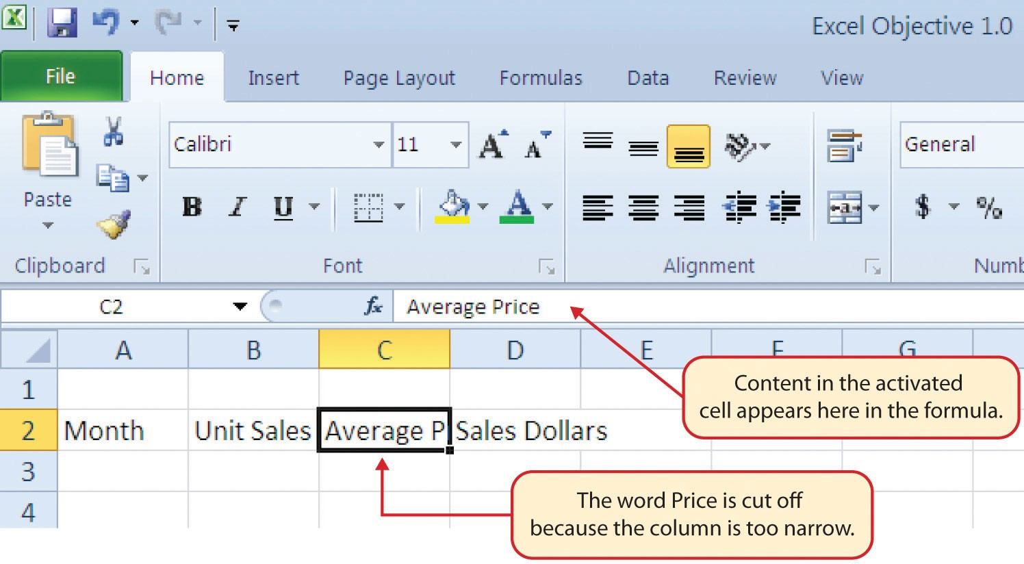 "Cell C2 activated with ""Average Price"" in formula displayed as ""Average P"" in cell due to narrow column."