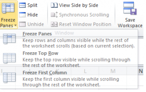 Freeze Pane open to Freeze Panes, Freeze Top Row, or Freeze First Column options.