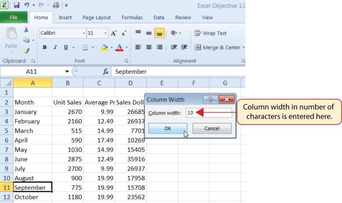 "Cell A11 ""September"" activated and Column Width dialog box opened with ""13"" entered, the max number of characters to fit in that cell."