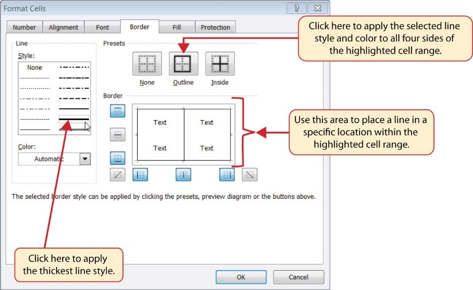Format Cells Dialog Box options including outline, line placement in a highlighted cell range, and thickest line style.
