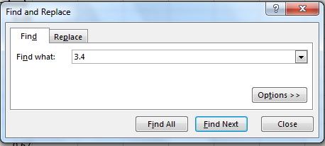 Find and Replace dialog box shows Find tab chosen and 3.4 entered in Find what. Replace tab, Find All, and Find Next options shown.